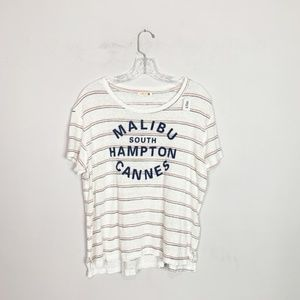 SUNDRY linen striped graphic t-shirt size 3 (L)